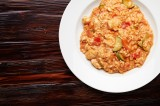 3. Risotto with chicken, red peppers and zucchini in tomato sauce with mascarpone cheese