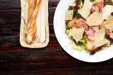 2. Variety of lettuce with chicken, bacon, Grana Padano cheese, capers and croutons