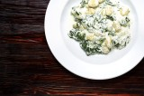 2. Gnocchi with cream sauce with gorgonzola cheese, spinach and garlic