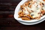 10. PENNE AL FORNO CON POLLO E SPINACI – penne pasta with tomato sauce, chicken, spinach and garlic, 'au gratin' with mozzarella cheese