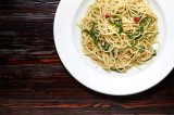 14. Spaghetti with olive oil, pine nuts, rocket, chilli peppers and garlic