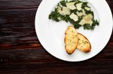 2. Spinach with garlic and slices of Grana Padano, garlic bread