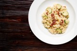 1. Risotto with gorgonzola cheese, dried tomatoes, zucchini and garlic