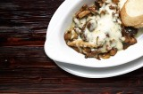 5. FUNGHI – oyster mushrooms with bay boletus stewed in white wine with green parsley and garlic, 'au gratin' with mozzarella cheese, garlic brea