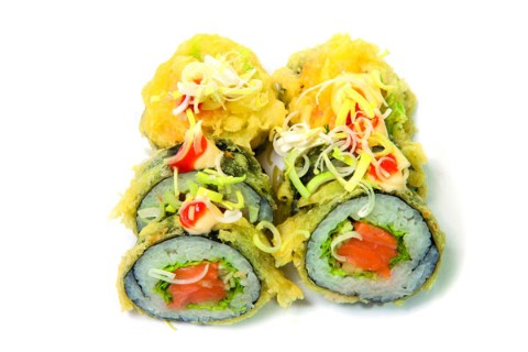 Salmon rolls in tempura batter