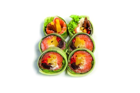 Salmon with vegetables and cream cheese wrapped in cucumber  6 pcs.