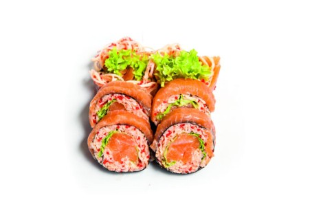 Japanese crabstick salad with salmon  6 pcs