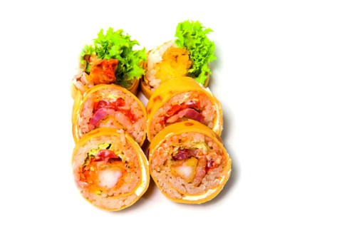 Prawn in tempura batter with bacon
