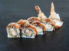 8. Tempura prawn with grilled eel on top