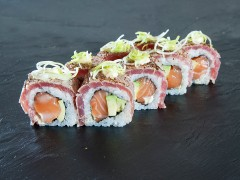 11. Salmon, avocado with grilled tuna on top