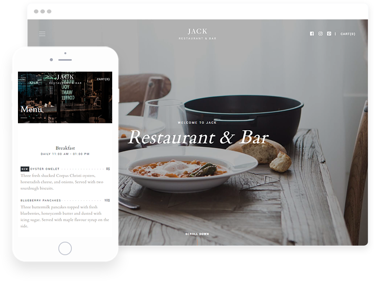 Presentation of Restaurant WordPress Theme on desktop and mobile devices