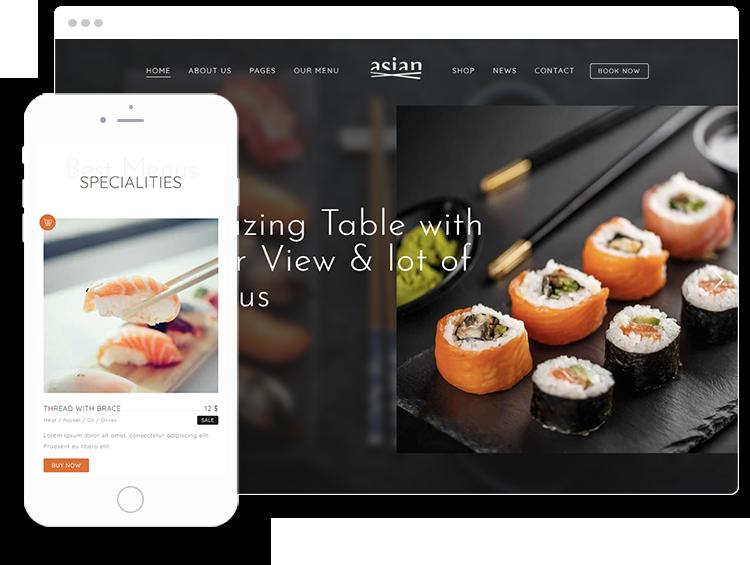 Presentation of Restaurant WordPress Theme on desktop and mobile devices