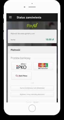 Płatności PayU zintegrowane z platformą sprzedaży online UpMenu