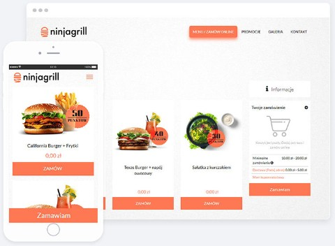 Mockup of website and mobile app with online ordering feature