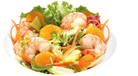 with shrimps and mandarines